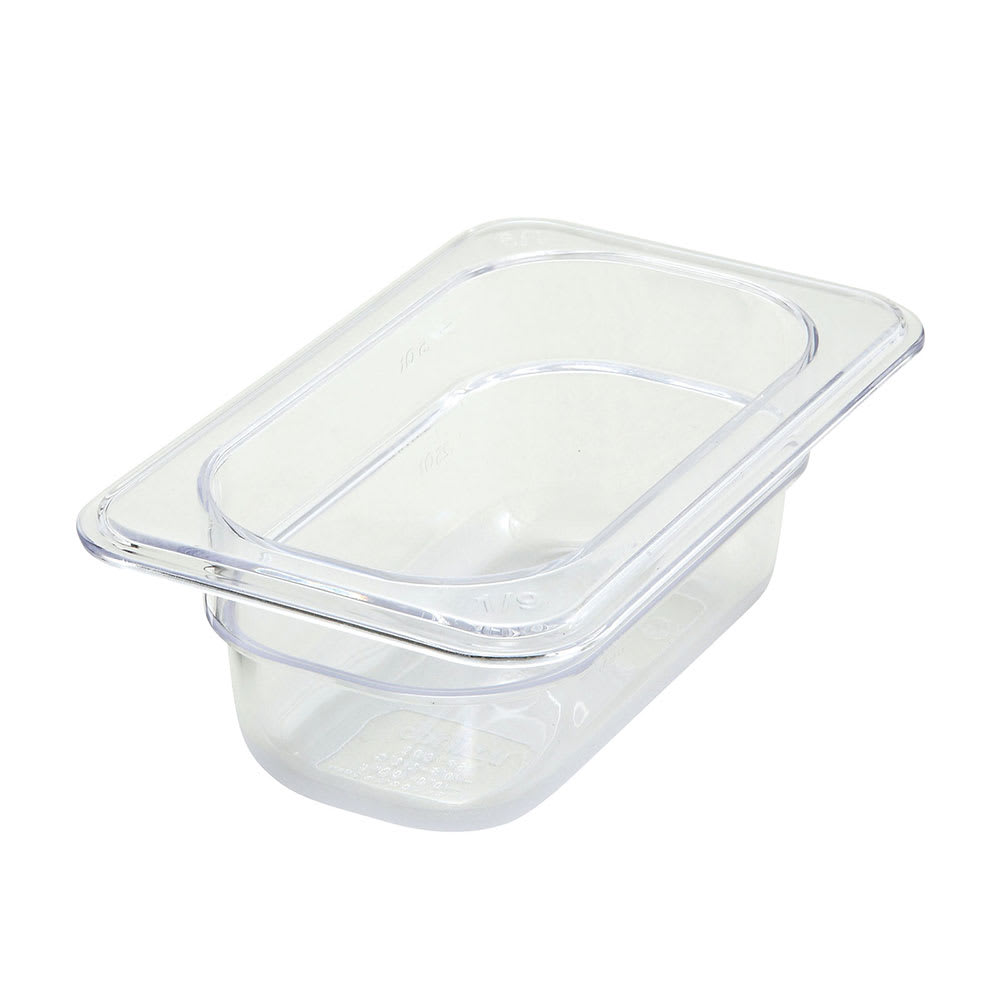 "Winco SP7902 1/9 Size Food Pan, 2.5"" Deep, Break Resistant Polycarbonate"