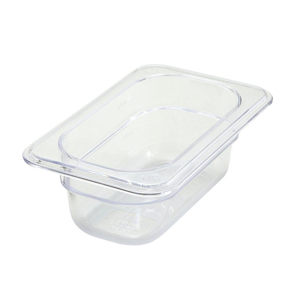 """Winco SP7902 1/9-Size Food Pan, 2.5"""" Deep, Break Resistant Polycarbonate"""
