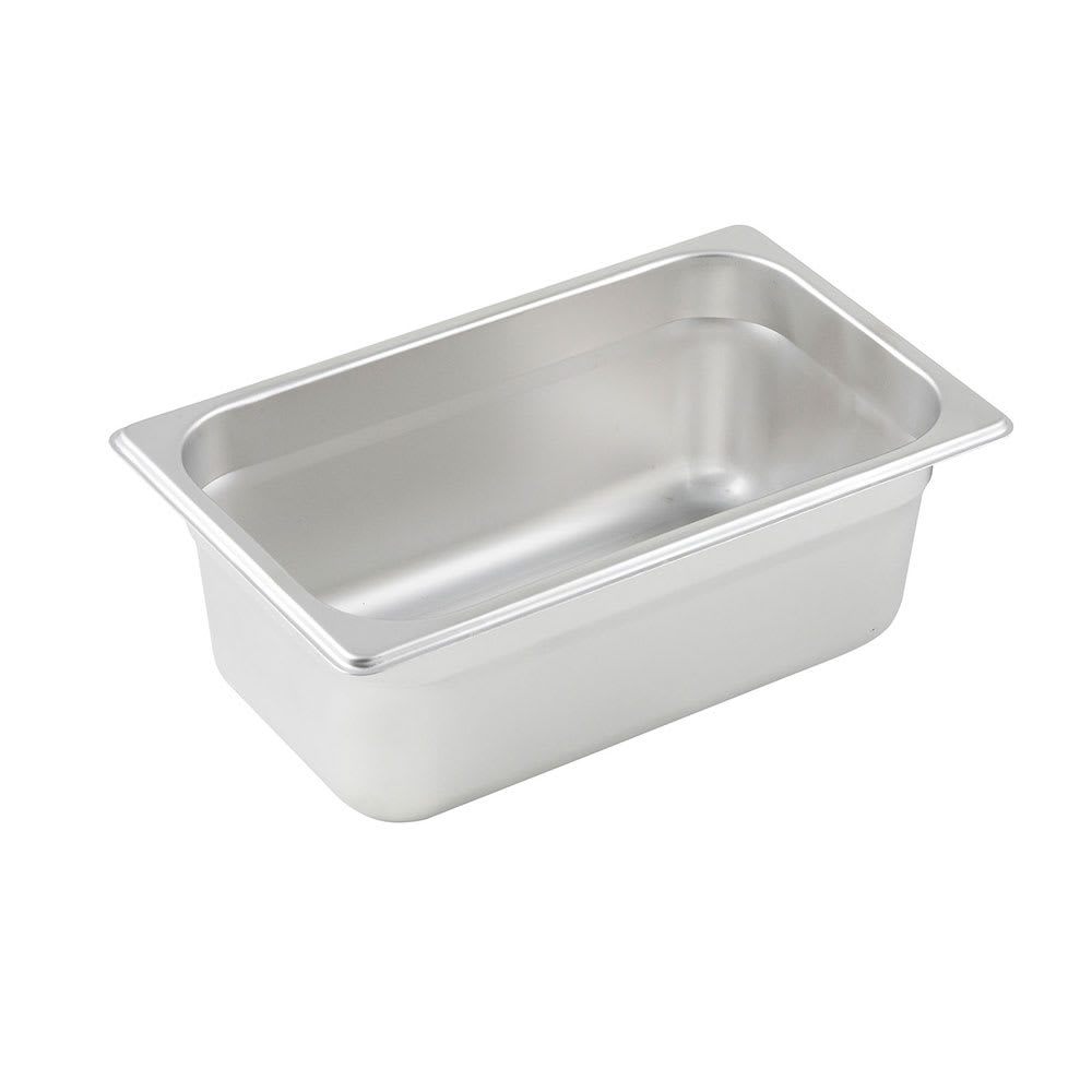 Winco SPJM-404 Fourth-Size Steam Pan, Stainless