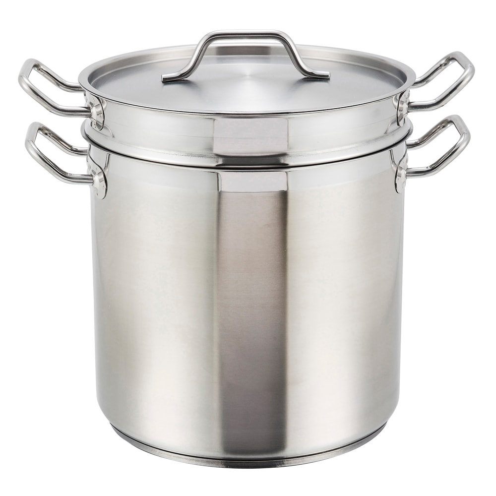 """Winco SSDB-12 10.25"""" Stainless Steel Couble Boiler w/ 12 qt Capacity"""