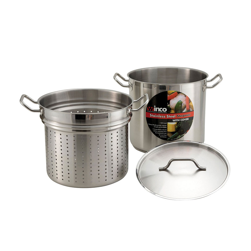 Winco SSDB-12S 12 qt Master Cook Steamer Pasta Cooker w/ Cover, Stainless