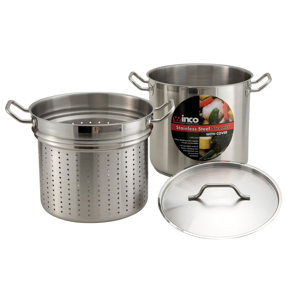 Winco SSDB-20S 20 qt Master Cook Steamer Pasta Cooker w/ Cover & Aluminum Core, Stainless