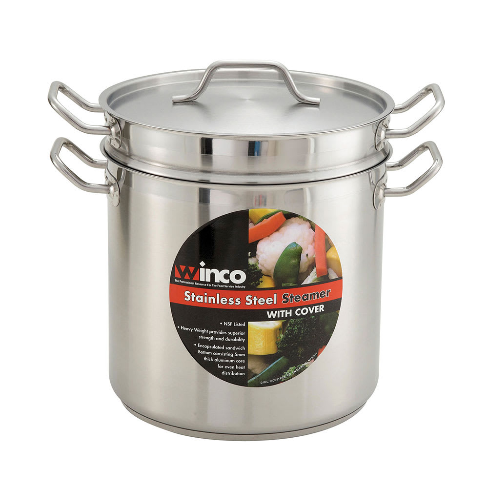 """Winco SSDB-8 9.5"""" Stainless Steel Double Boiler w/ 8 qt Capacity"""