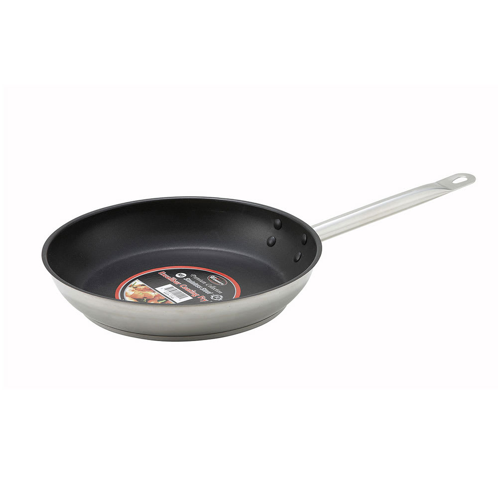 "Winco SSFP-11NS 11"" Non-Stick Steel Frying Pan w/ Solid Metal Handle"