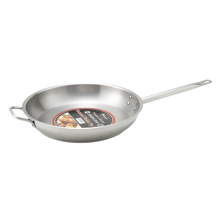 "Winco SSFP12 12"" Stainless Steel Frying Pan w/ Solid Metal Handle"