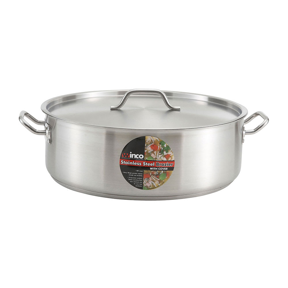 Winco SSLB-25 25 qt Stainless Steel Braising Pot