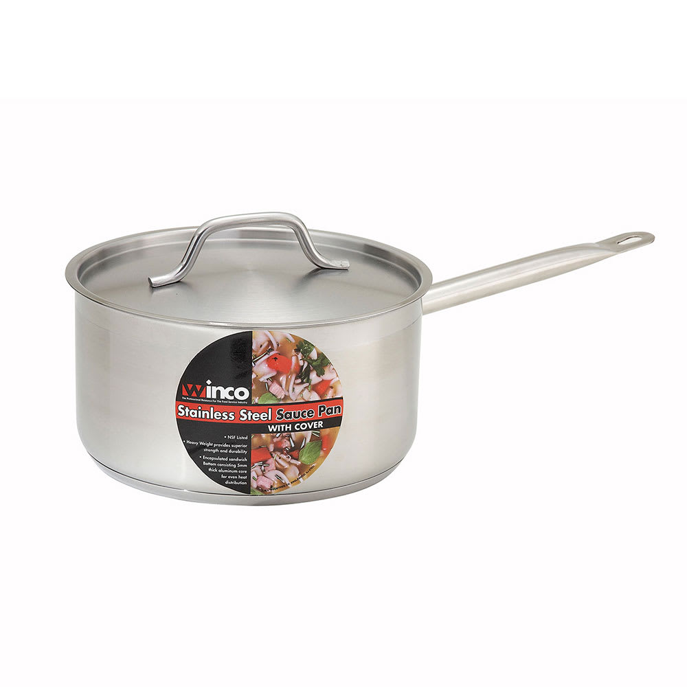 Winco SSSP-3 3.5 qt Stainless Steel Saucepan w/ Hollow Metal Handle