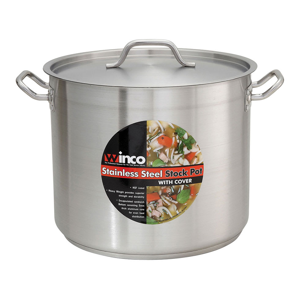 Winco Sst20 20 Qt Stainless Steel Stock Pot Induction Ready