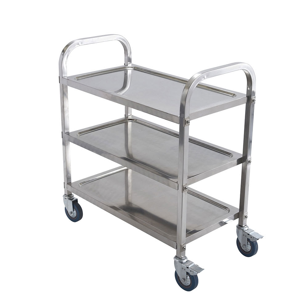 Winco SUC30 3 Level Stainless Utility Cart w/ Raised Ledges