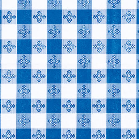 """Winco TBCO-90B Oblong Table Cloth, PVC Material w/ Flannel Backing, 52 x 90"""", Blue"""
