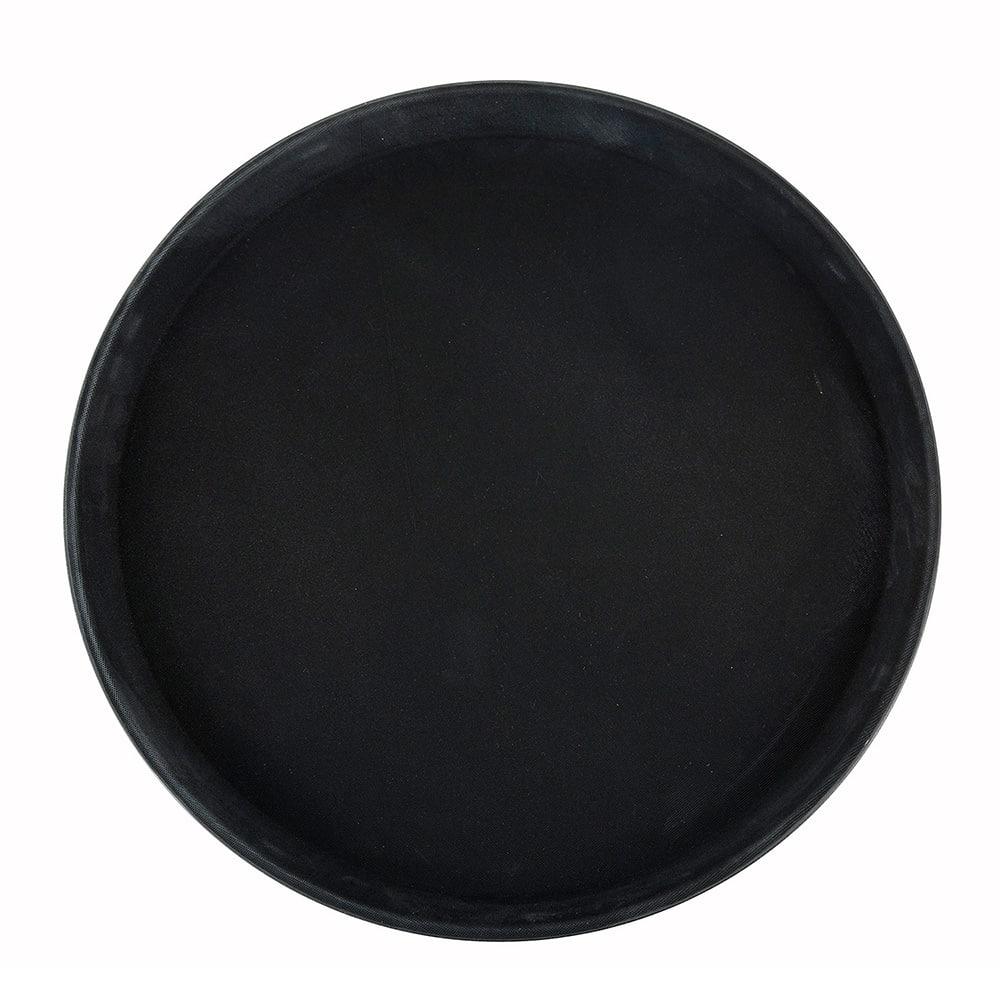 "Winco TFG-14K 14"" Round Serving Tray - Fiberglass, Black"
