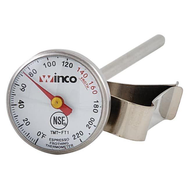 Winco TMT-FT1 Dial Type Frothing Thermometer w/ Clip, 0 220 Temperature Range