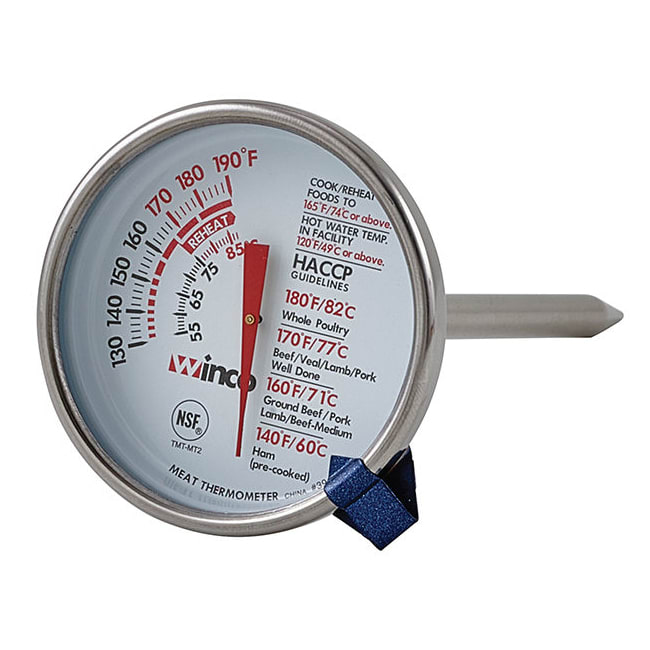 Winco TMT-MT2 Dial Type Meat Thermometer w/ Stem, 130 to 190 Temperature Range, 2""