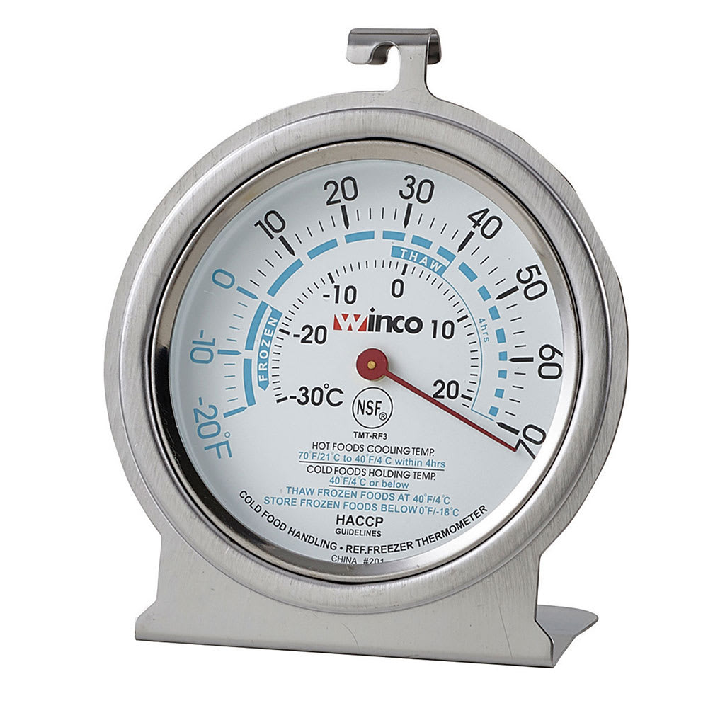 Winco TMT-RF2 Refrigerator Freezer Thermometer, Dial Type, 20 to 70-Temperature Range, 2""