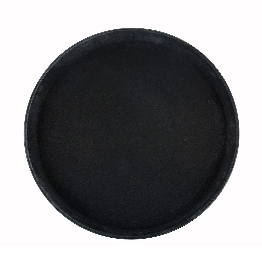 "Winco TRH-11K 11"" Round Easy Hold Tray, Black"