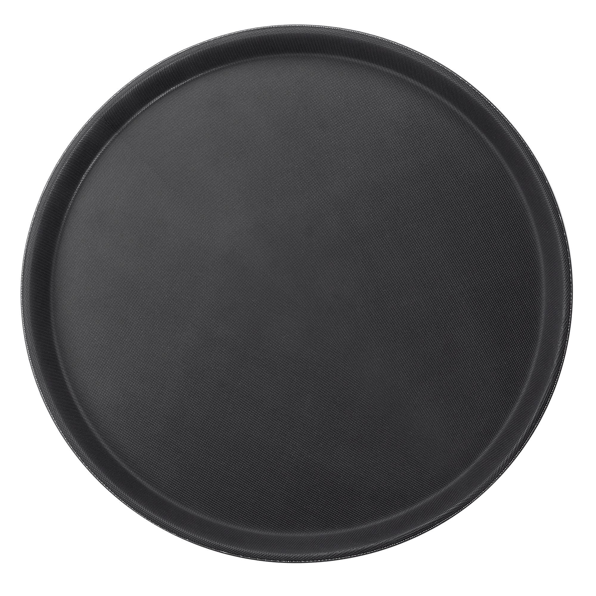 """Winco TRH-16K 16"""" Round Easy Hold Tray, Black"""