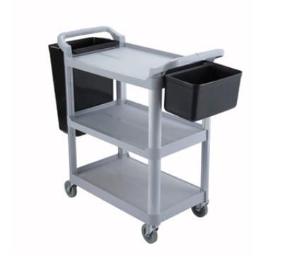 Winco UC-40G 3-Level Polymer Utility Cart w/ Raised Ledges
