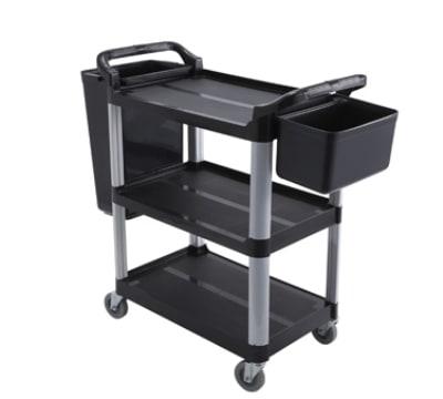 Winco UC-40K 3-Level Polymer Utility Cart w/ Raised Ledges
