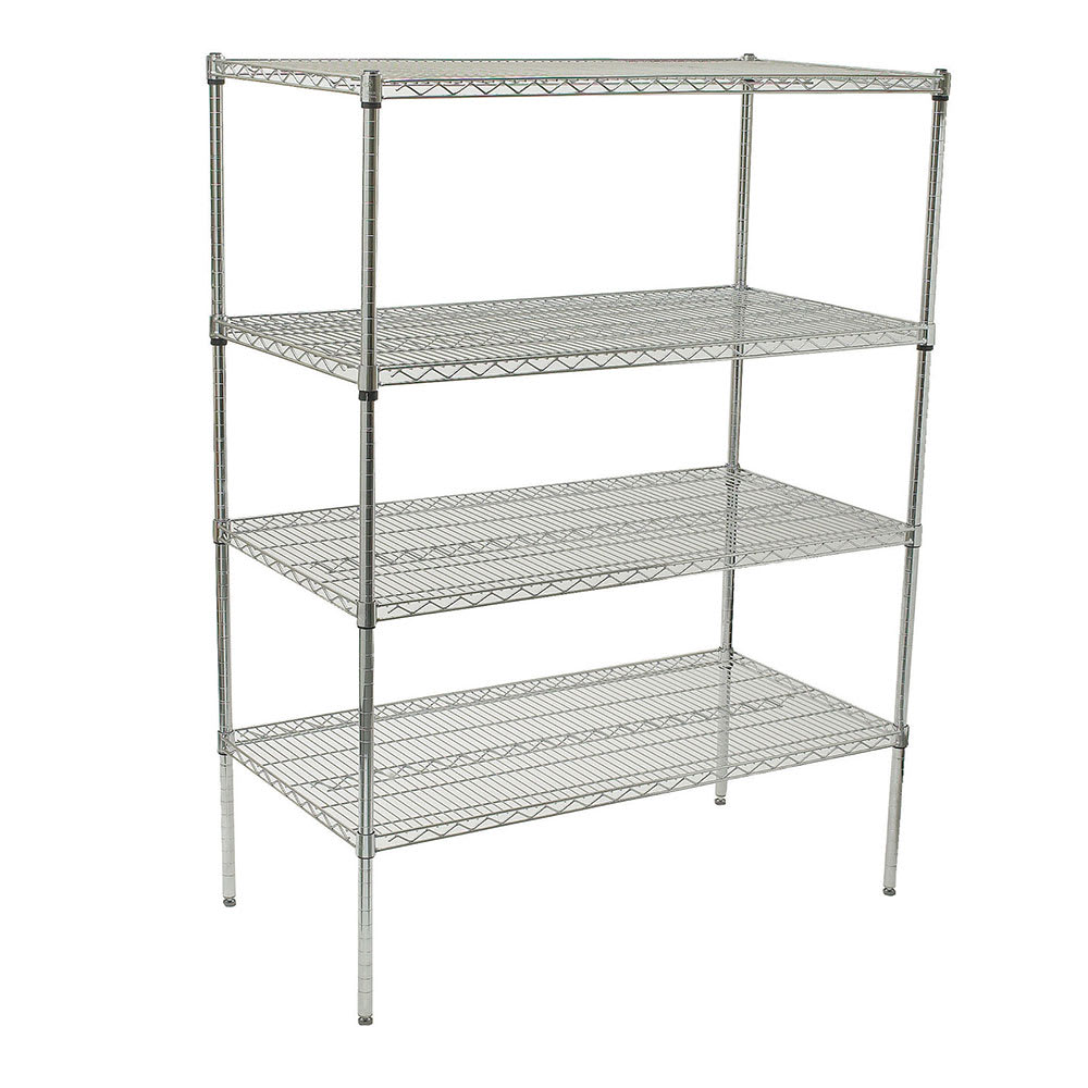 Winco VCS-1848 Chrome Wire Shelving Unit w/ (4) Levels, 18x48x72""