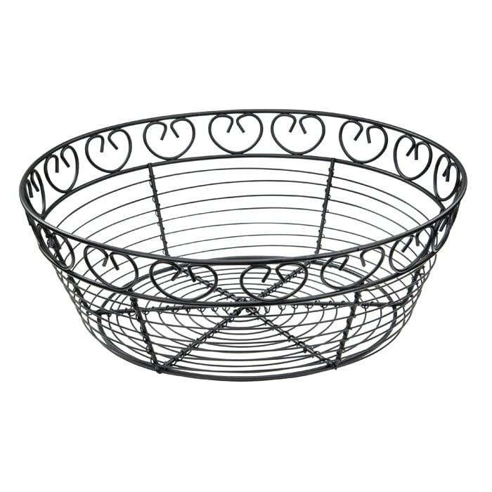"""Winco WBKG-10R Round Bread/Fruit Basket, 10 x 3""""H, Black Wire"""