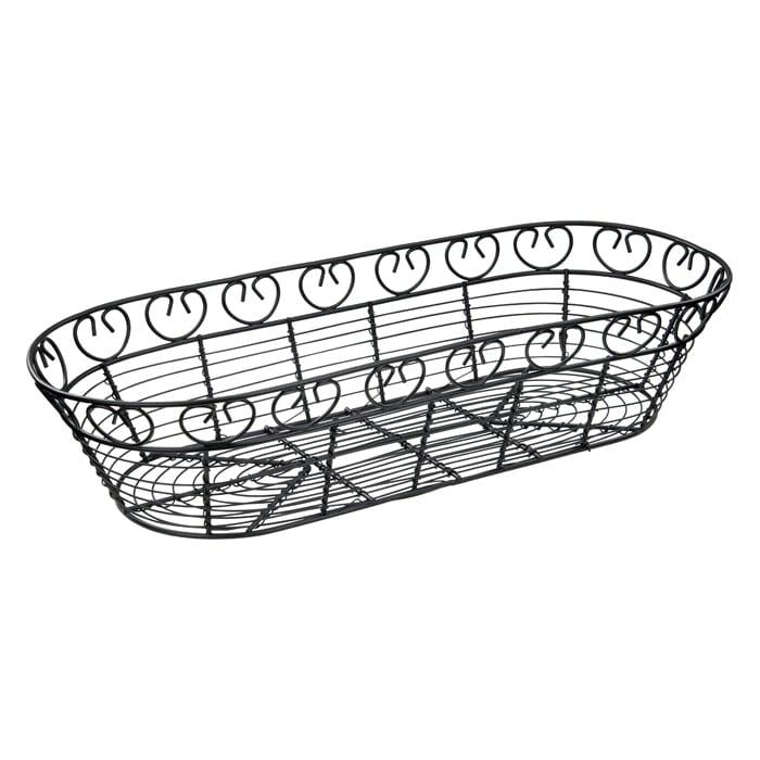 "Winco WBKG-15 Oblong Bread/Fruit Basket, 15 x 6.5"" X 3""H, Black Wire"