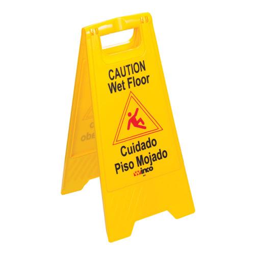 "Winco WCS-25 Wet Floor Caution Sign, 12 x 25"", Yellow"