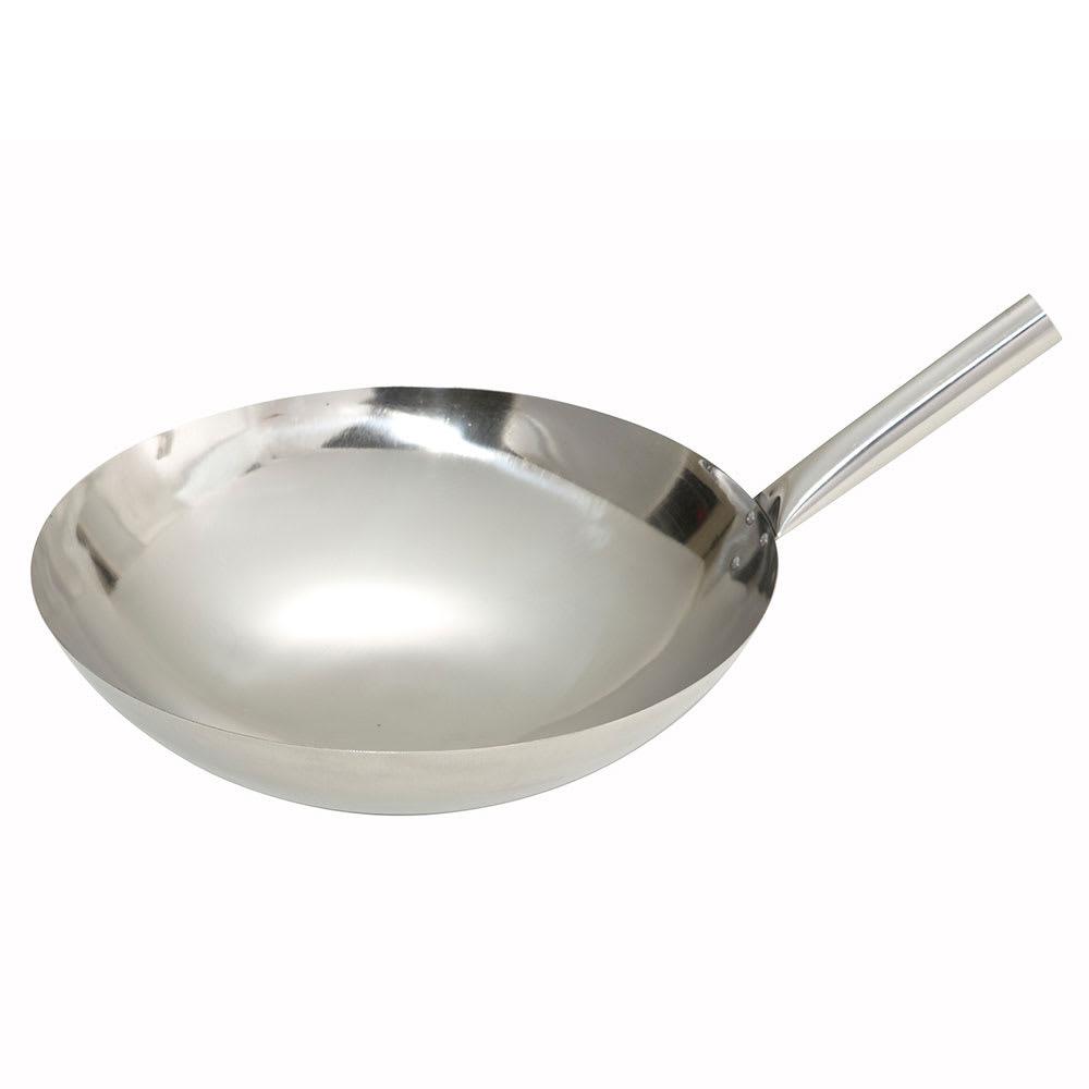 "Winco WOK-14N 14"" Stainless Stir Fry Pan"