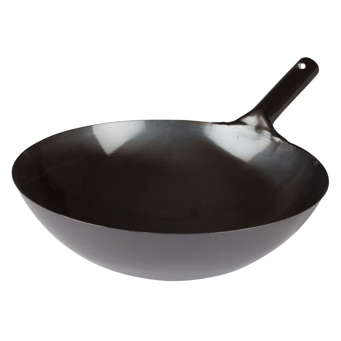 "Winco WOK-36 16"" Carbon Steel Stir Fry Pan - No Interior Rivets"