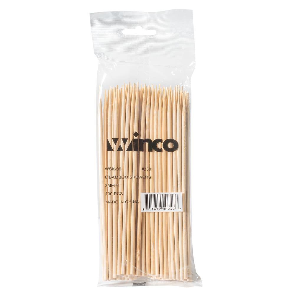 "Winco WSK-06 6"" Bamboo Skewers"