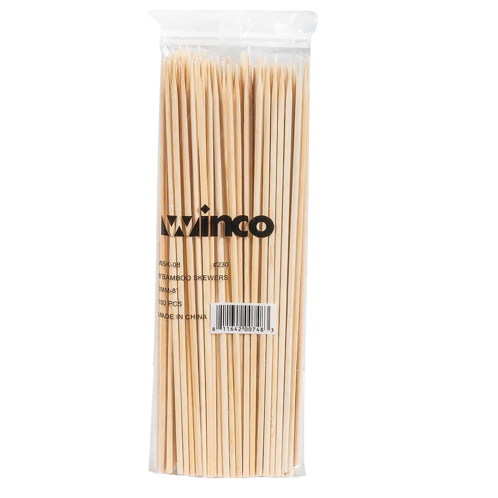 "Winco WSK-08 8"" Bamboo Skewers"