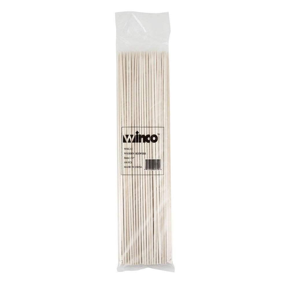 "Winco WSK-12 Bamboo Skewer, 12""Long, 100 per Bag"