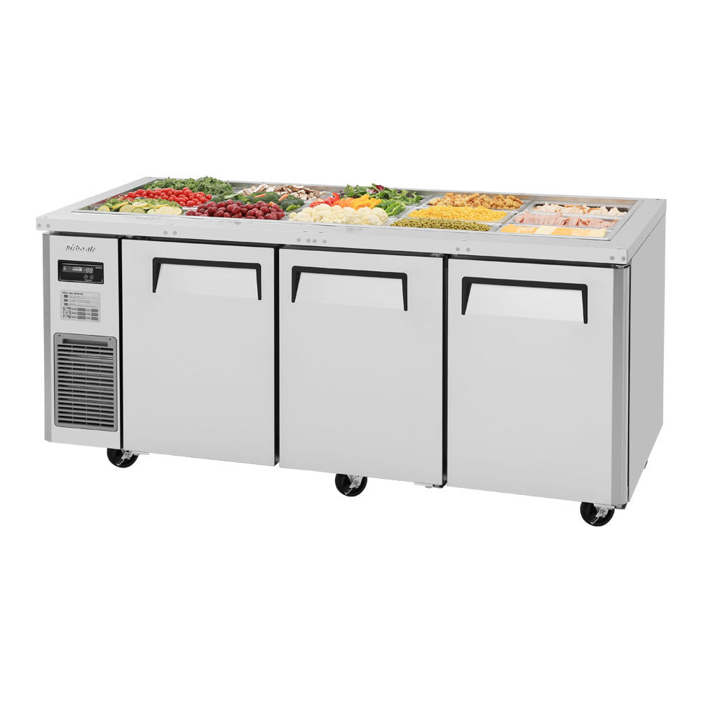 Turbo Air JBT-72 3 Section Refrigerated Buffet Table w/ Swing Doors, 18.2 cu ft, 115v