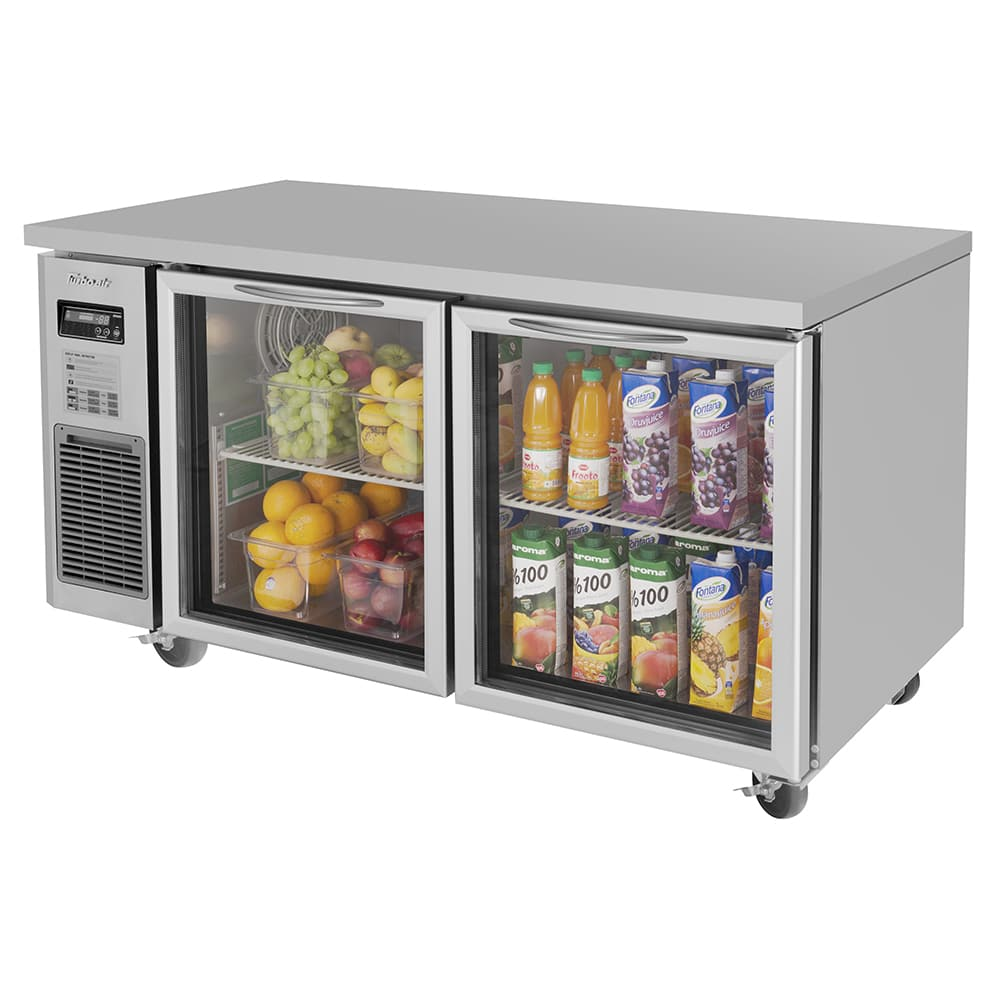 Turbo Air JUR-60-G-N 13.6 cu ft Undercounter Refrigerator w/ (2) Sections & (2) Doors, 115v