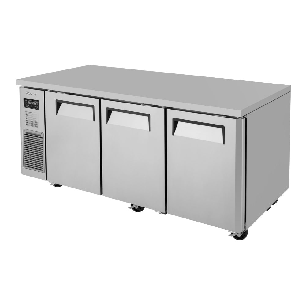 Turbo Air JURF-72-N 12.4 cu ft Undercounter Refrigerator/Freezer Combo w/ (3) Sections & (3) Doors, 115v