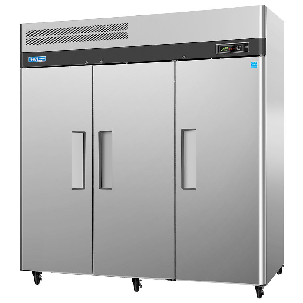 "Turbo Air M3F72-3 78"" Three Section Reach-In Freezer, (3) Solid Doors, 115v"