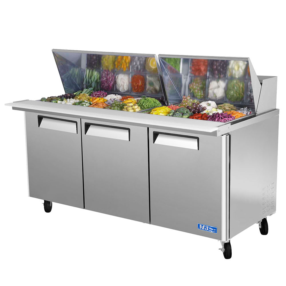 "Turbo Air MST-72-30 72"" Sandwich/Salad Prep Table w/ Refrigerated Base, 115v"