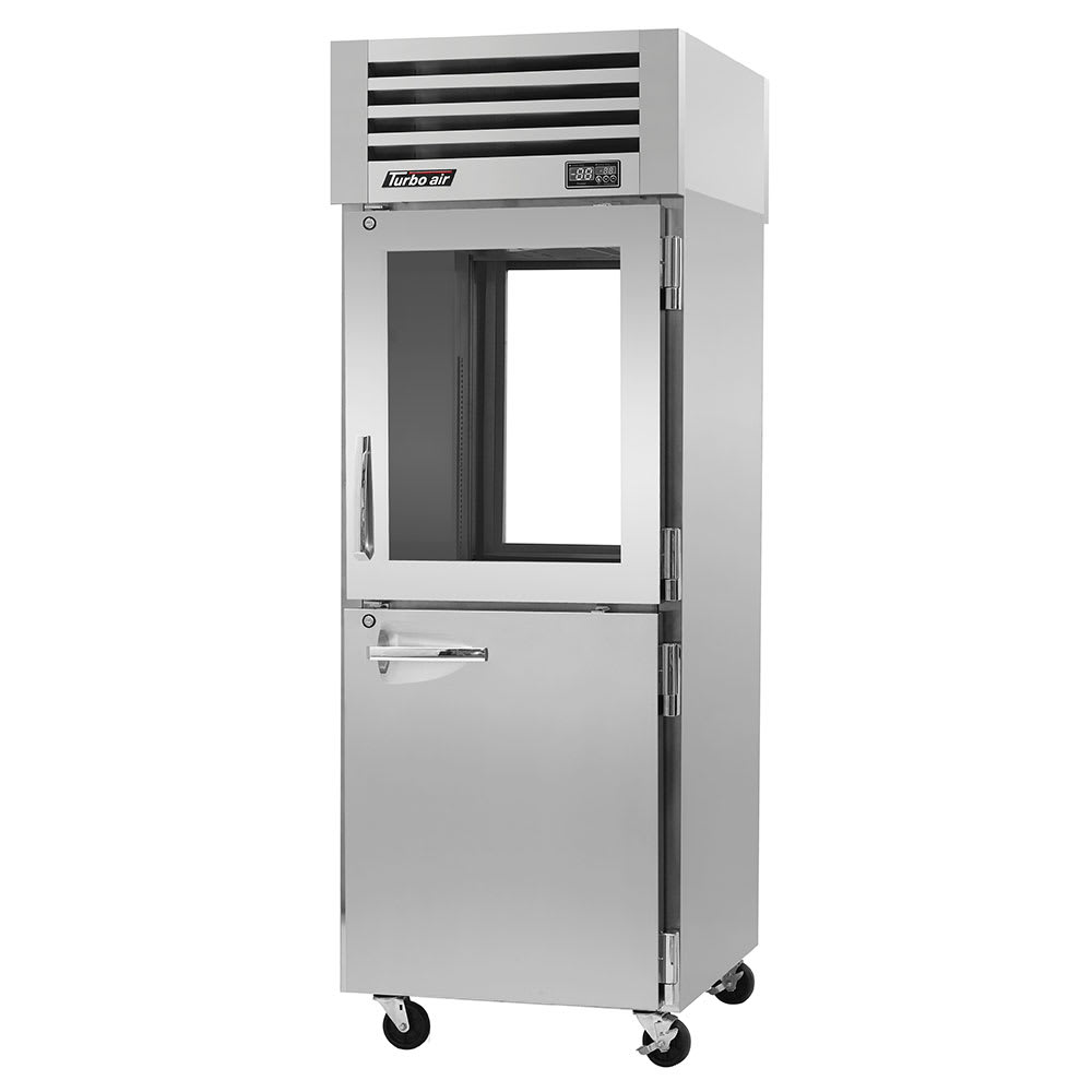 "Turbo Air PRO-26R-GSH-PT 28.75"" Single Section Pass-Thru Refrigerator, (2) Solid Doors & (2) Glass Doors, 115v"