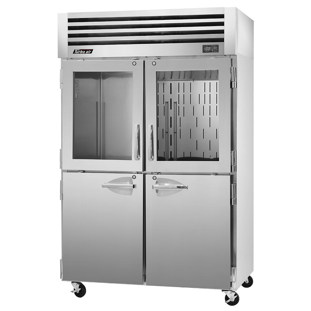"""Turbo Air PRO-50R-GSH 51.75"""" Two Section Reach-In Refrigerator, (2) Solid Doors & (2) Glass Doors, 115v"""