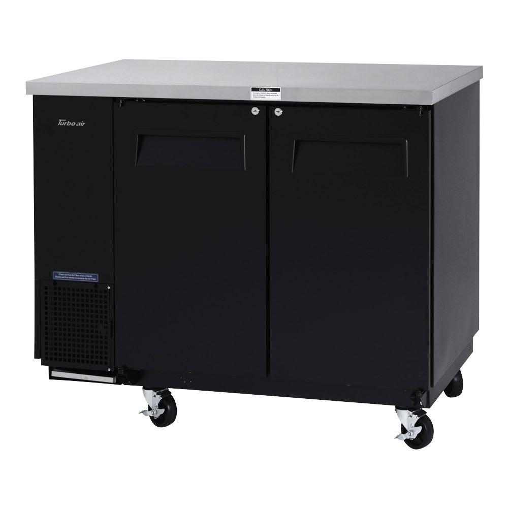 "Turbo Air TBB-24-48SB-N6 49"" (2) Section Bar Refrigerator - Swinging Solid Doors, 115v"