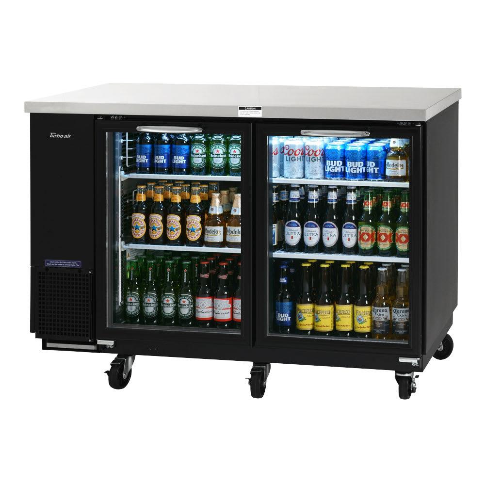 "Turbo Air TBB-24-60SG-N 61"" (2) Section Bar Refrigerator - Swinging Glass Doors, 115v"