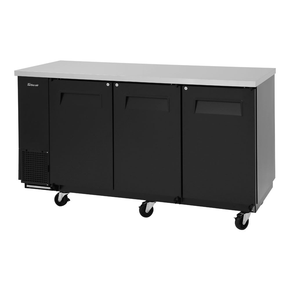 "Turbo Air TBB-24-72SB-N6 73"" (3) Section Bar Refrigerator - Swinging Solid Doors, 115v"