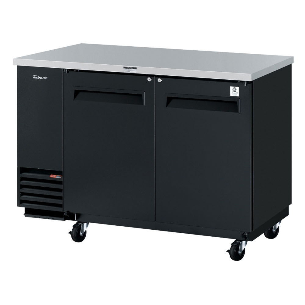 "Turbo Air TBB-2SB-N6 59"" (2) Section Bar Refrigerator - Swinging Solid Doors, 115v"