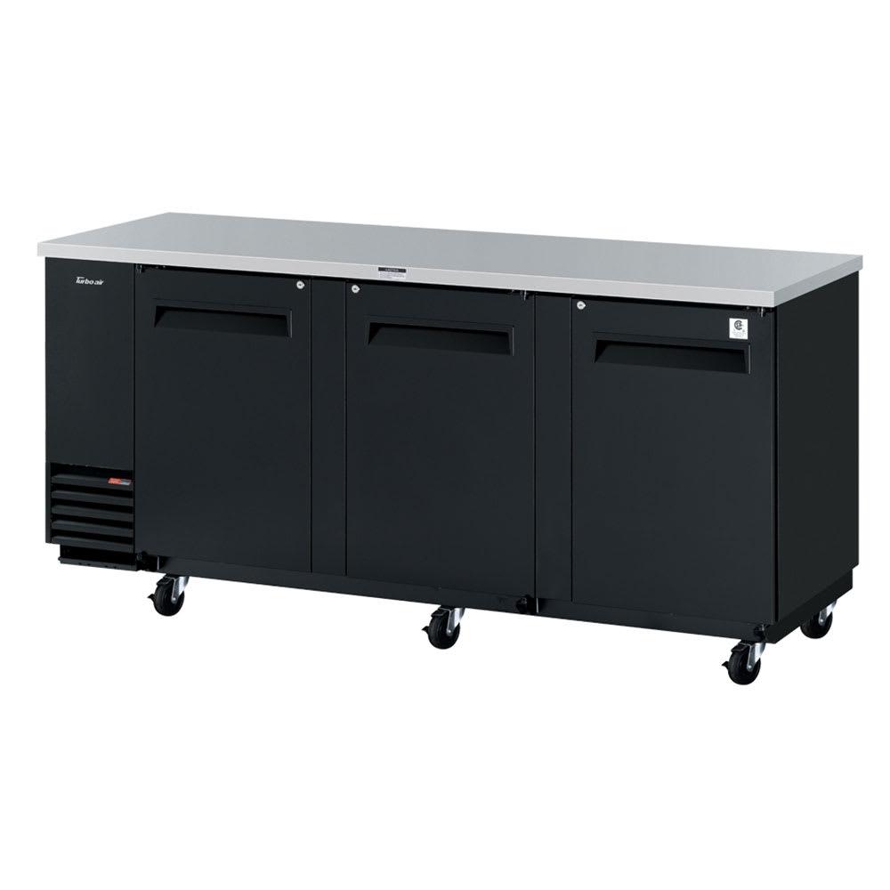 "Turbo Air TBB-4SB-N 90"" (3) Section Bar Refrigerator - Swinging Solid Doors, 115v"