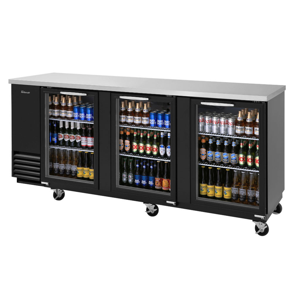 "Turbo Air TBB-4SG 90"" (3) Section Bar Refrigerator - Swinging Glass Doors, 115v"