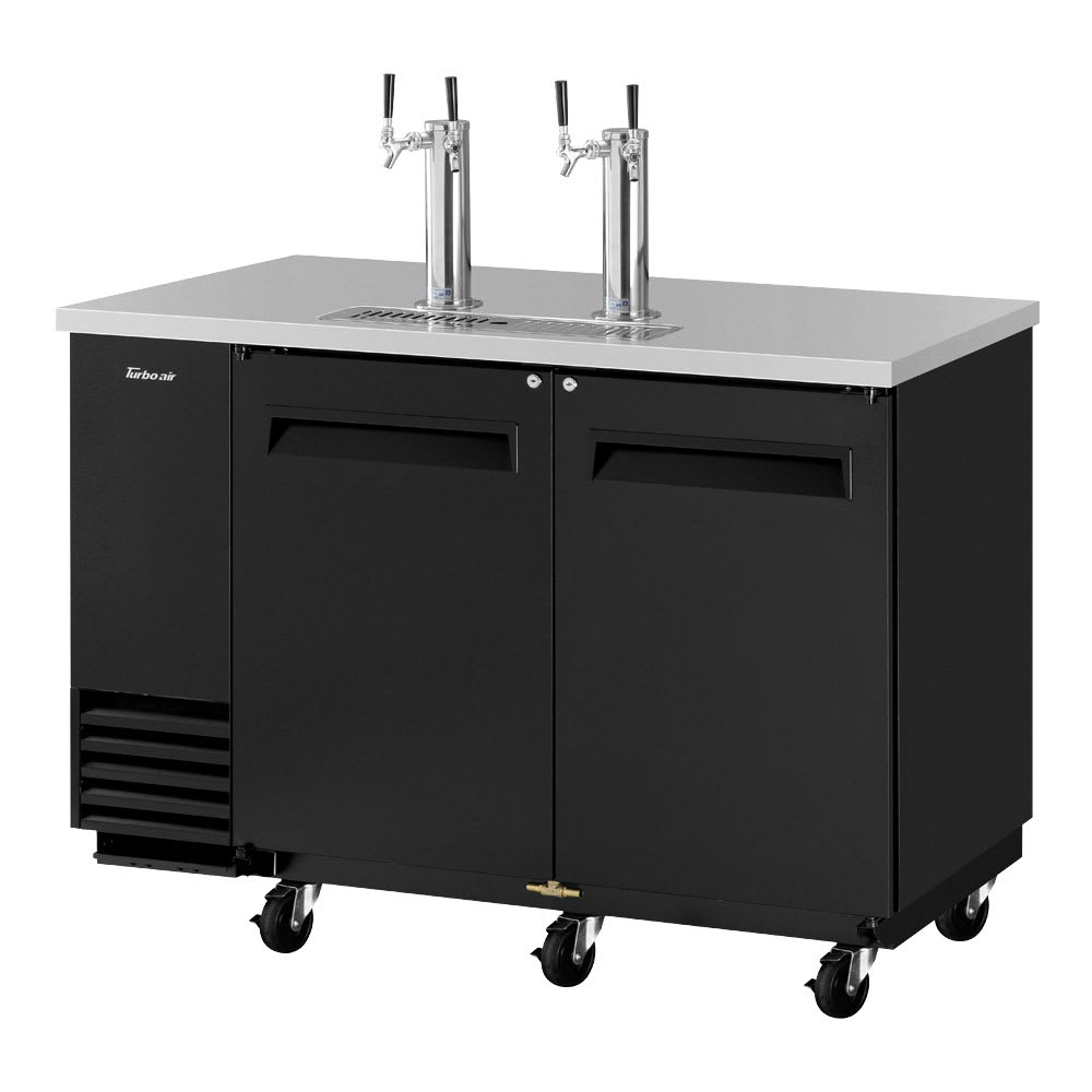 "Turbo Air TBD-2SB-N6 59"" Draft Beer System w/ (2) Keg Capacity - (2) Columns, Black, 115v"