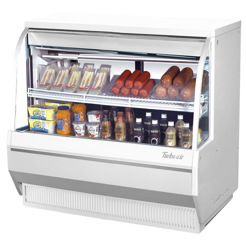 "Turbo Air TCDD-48L-W-N 48.5"" Full Service Deli Case w/ Curved Glass - (2) Levels, 115v"