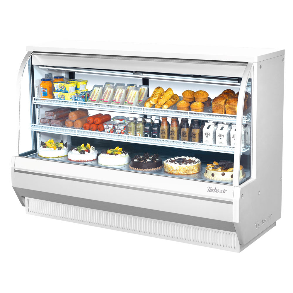 "Turbo Air TCDD-72L-W-N 72.5"" Full Service Deli Case w/ Curved Glass - (2) Levels, 115v"