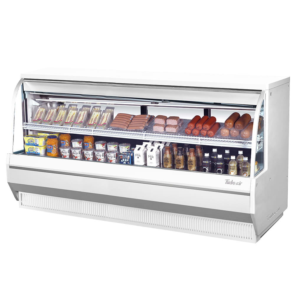 "Turbo Air TCDD-96-4-L 96.5"" Full Service Deli Case w/ Curved Glass - (2) Levels, 115v"