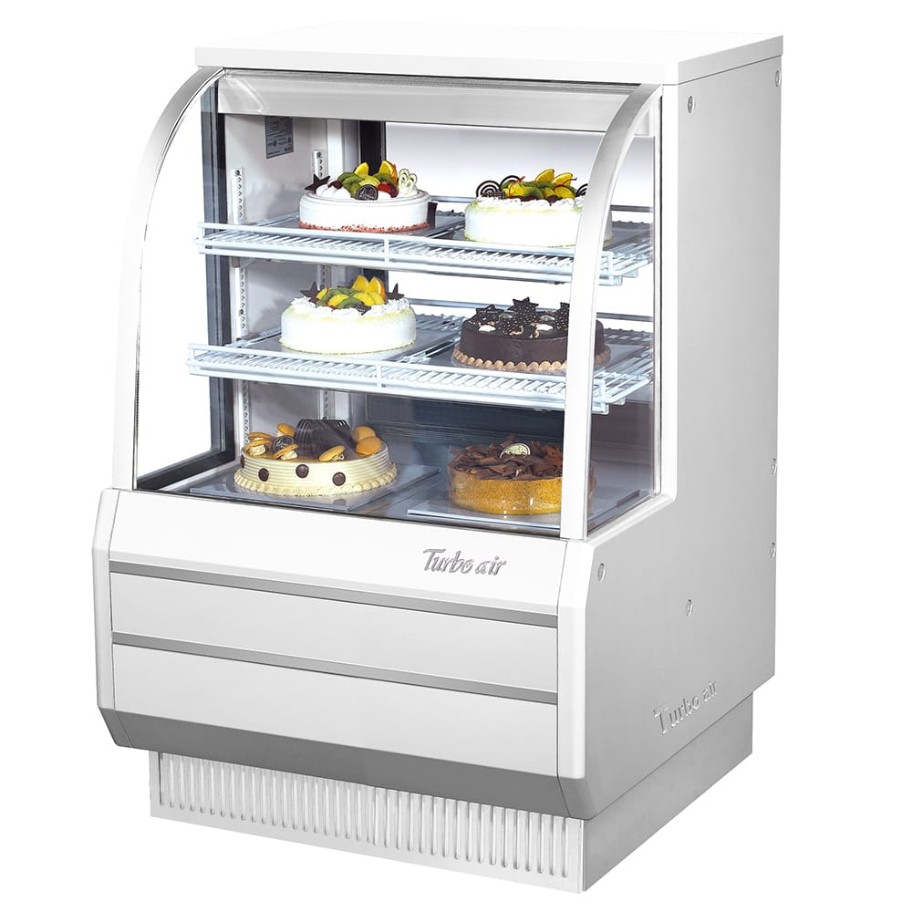 "Turbo Air TCGB-36-2 36.5"" Full Service Bakery Case w/ Curved Glass - (3) Levels, 115v"