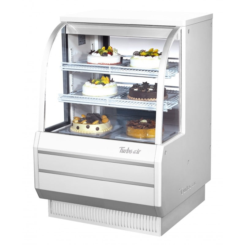 """Turbo Air TCGB-36DR-W(R) 36.5"""" Full Service Dry Bakery Display Case w/ Curved Glass - (3) Levels, 115v"""